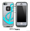 Silver Sparkle Turquoise Anchor Skin for the iPhone 5 or 4/4s LifeProof Case