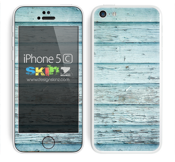 Aged Blue Color Wood Planks V7 Skin For The iPhone 5c