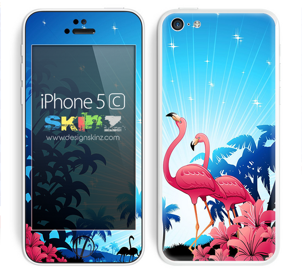 Blue Flamingo Abstract Skin For The iPhone 5c