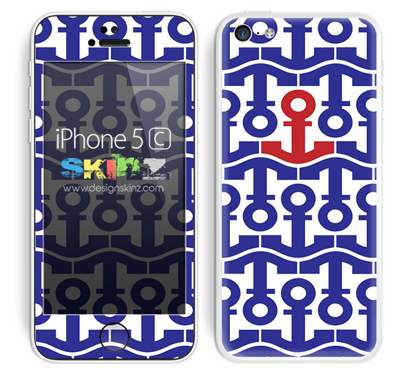 Anchor Bundle Collage Blue and Red Accent Skin For The iPhone 5c