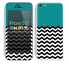 Solid Dark Green Color and Chevron Pattern Skin For The iPhone 5c