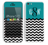 Custom Monogrammed Chevron Pattern Dark Green and Black Skin For The iPhone 5c