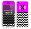 Custom Monogrammed Chevron Pattern Hot Pink and Black Skin For The iPhone 5c
