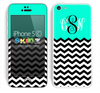 Custom Monogrammed Chevron Pattern Trendy Green and Black Skin For The iPhone 5c