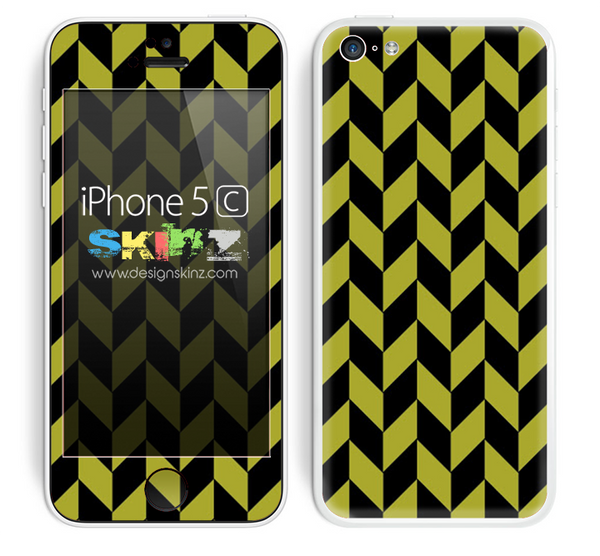 Zig Zag V3 Chevron Pattern Gold and Black Skin For The iPhone 5c