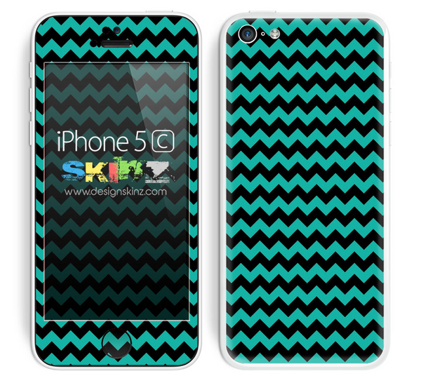 Zig Zag V2 Chevron Pattern Trendy Green and Black Skin For The iPhone 5c