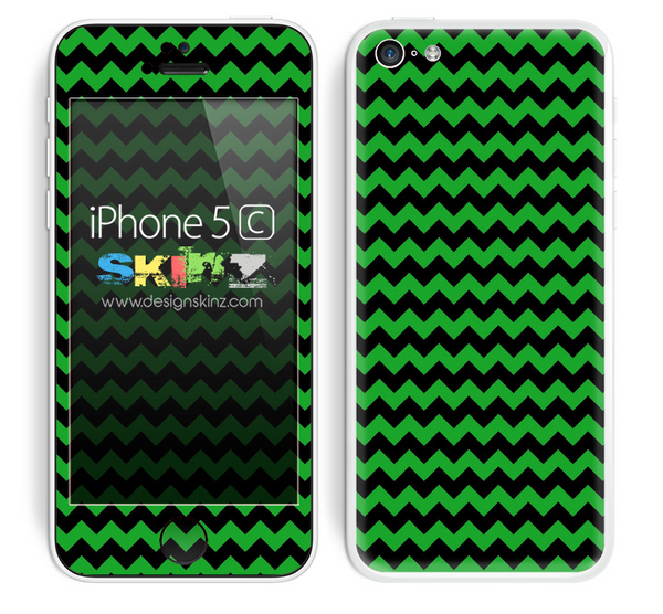 Zig Zag V2 Chevron Pattern Lime Green and Black Skin For The iPhone 5c
