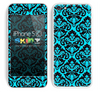 Mirrored V2 Pattern Turquoise and Black Skin For The iPhone 5c