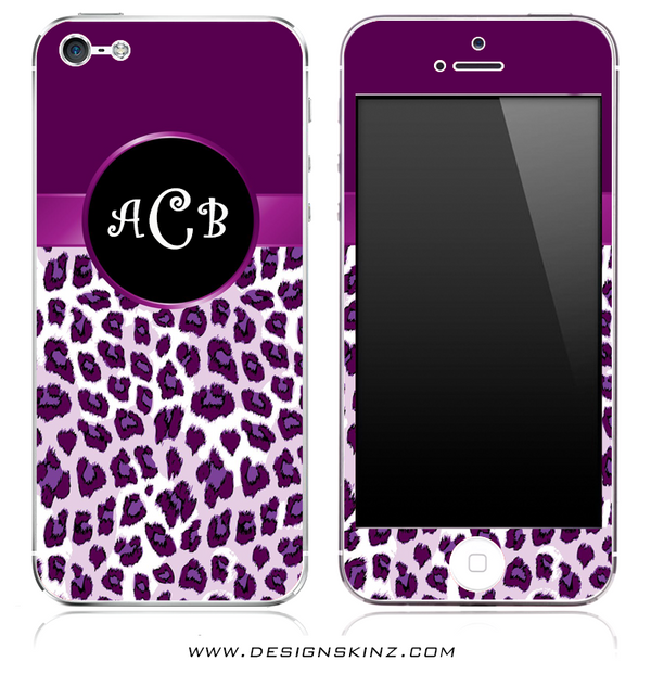 Monogram Purple Animal Print iPhone Skin