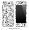Black & White Floral iPhone Skin