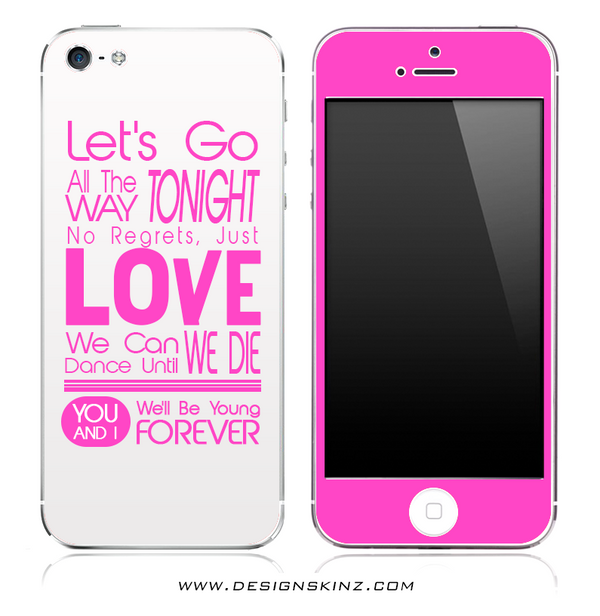 Let's Go All The Way Pink & White iPhone Skin