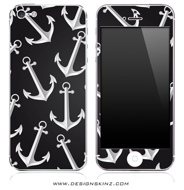 Black & White Anchor iPhone Skin