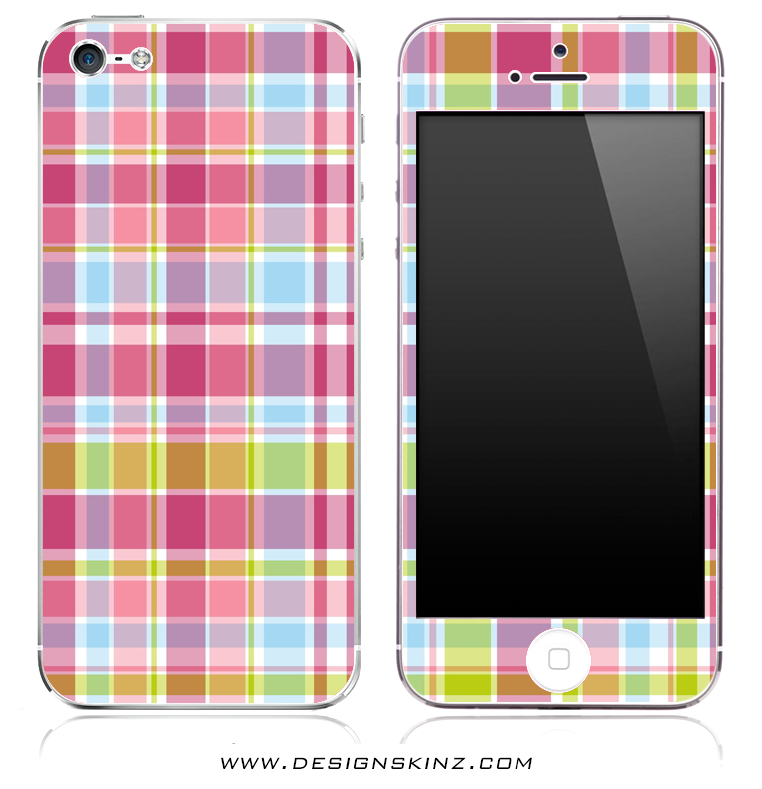 Pink & Blue Plaid iPhone Skin