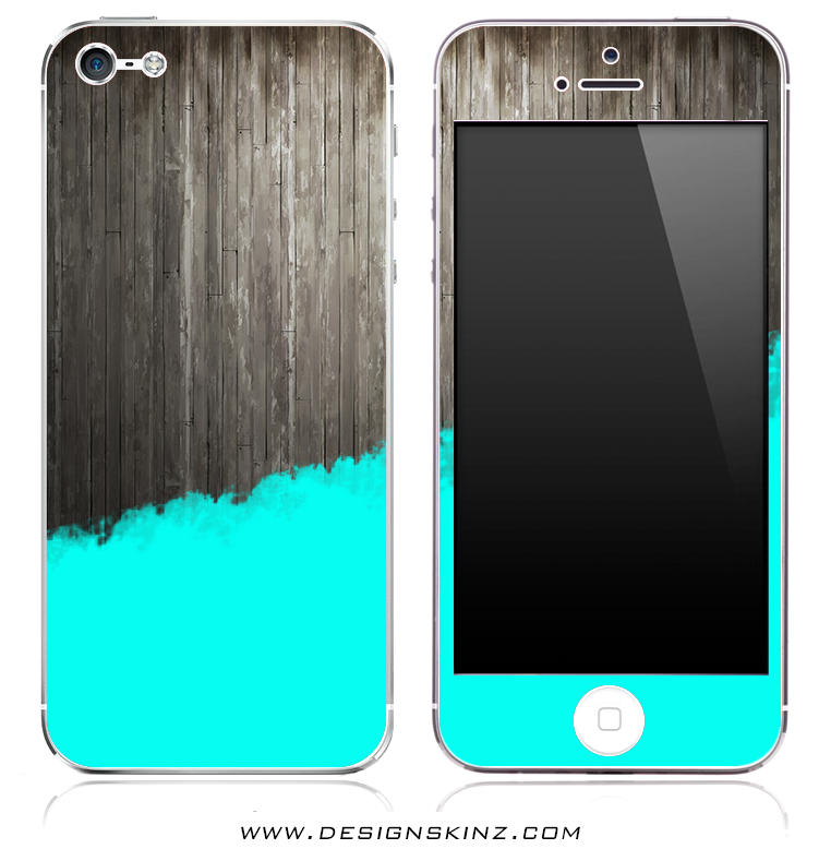 Turquoise Two-Tone Wood 2 iPhone Skin