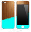 Turquoise Two-Tone Wood 3 iPhone Skin