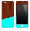 Turquoise Two-Tone Wood 4 iPhone Skin