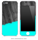 Turquoise Two-Tone Wood 5 iPhone Skin
