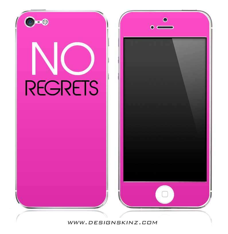 NO REGRETS Pink iPhone Skin