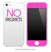 NO REGRETS White & Pink Back iPhone Skin