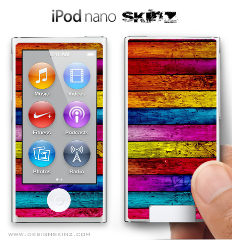 Colorful Wood iPod Nano Skin