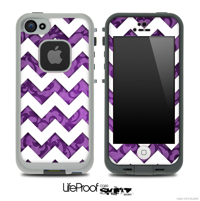 Purple Lace with White Chevron Pattern Skin for the iPhone 5 or 4/4s LifeProof Case