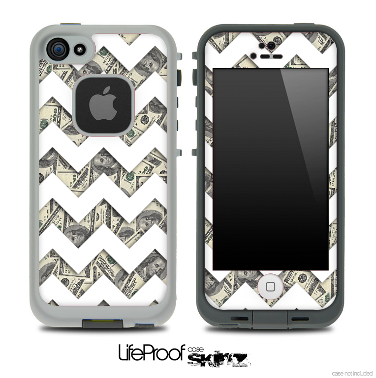 Money Bills with White Chevron Pattern Skin for the iPhone 5 or 4/4s LifeProof Case
