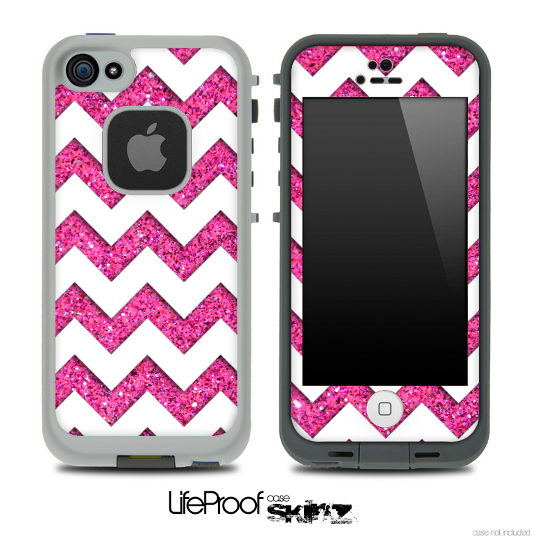 Large Pink Sparkle Print with White Chevron Pattern Skin for the iPhone 5 or 4/4s LifeProof Case