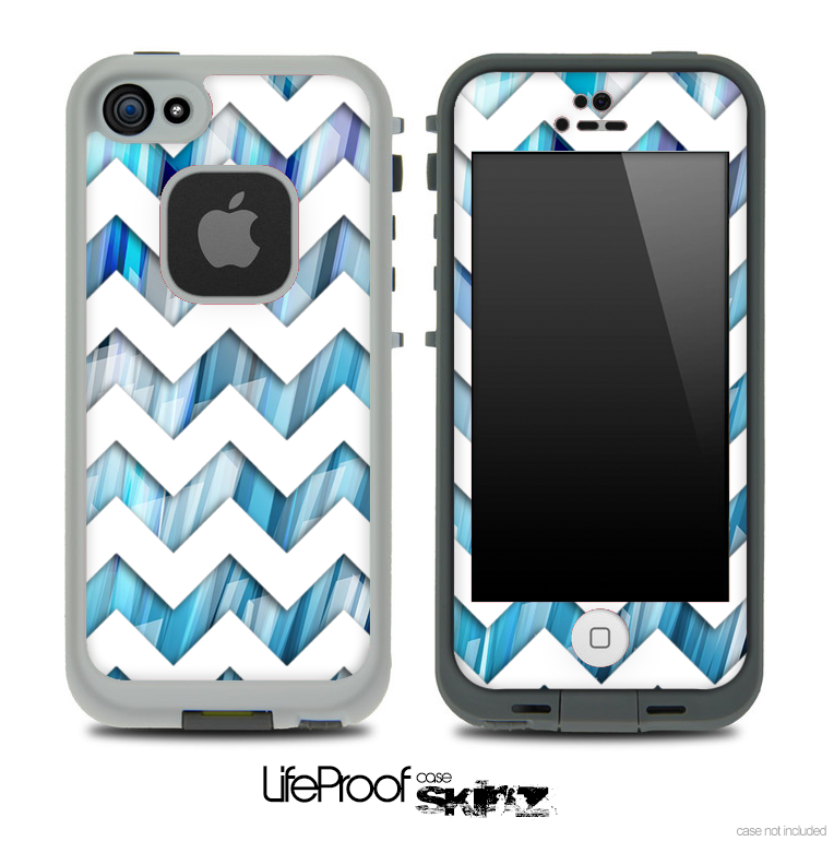 Blue 3D Vector Spikes and White Chevron Pattern Skin for the iPhone 5 or 4/4s LifeProof Case