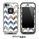 Cloudy Blue Wood with White Chevron Pattern Skin for the iPhone 5 or 4/4s LifeProof Case