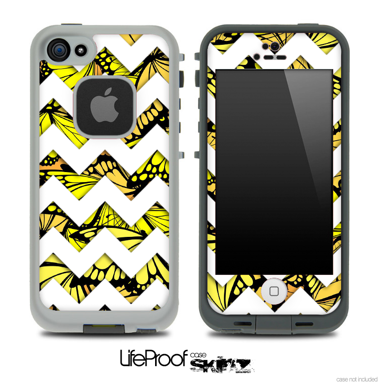 Butterfly Yellow V2 and White Chevron Pattern Skin for the iPhone 5 or 4/4s LifeProof Case