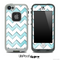 Vintage Textured Blue and White Chevron Pattern Skin for the iPhone 5 or 4/4s LifeProof Case