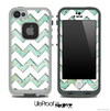 Vintage Green spots and White Chevron Pattern Skin for the iPhone 5 or 4/4s LifeProof Case