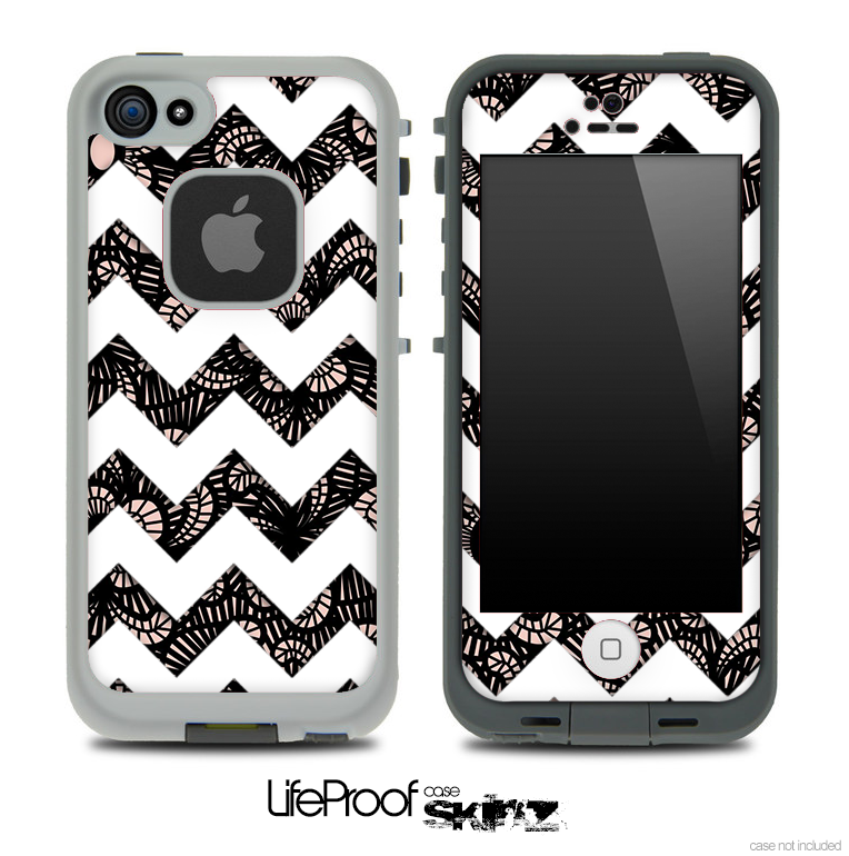 Black Floral Lace with White Chevron Pattern Skin for the iPhone 5 or 4/4s LifeProof Case