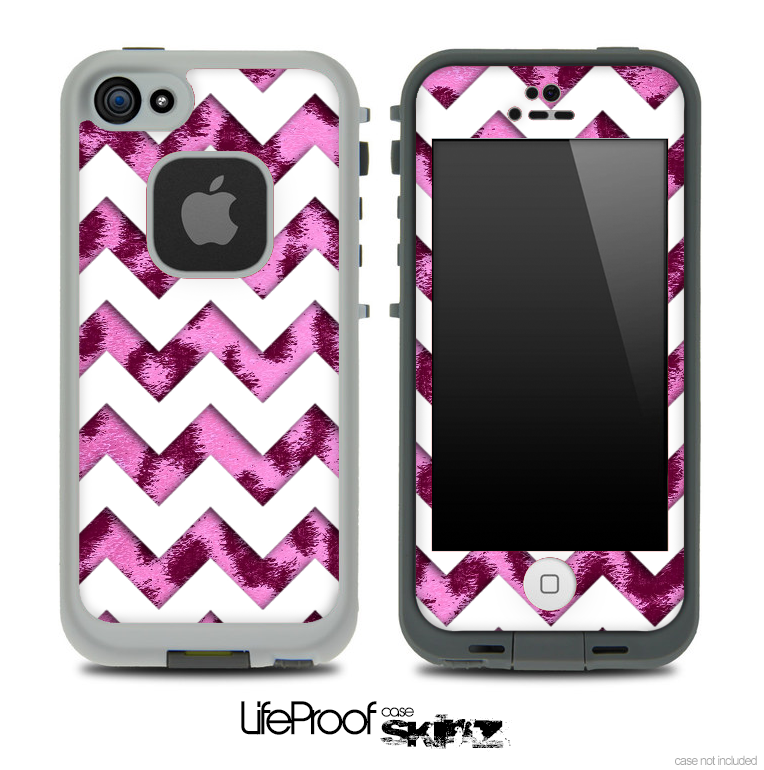 Hot Pink Cheetah Print with White Chevron Pattern Skin for the iPhone 5 or 4/4s LifeProof Case