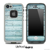 Aqua Blue Aged Wood Skin for the iPhone 5 or 4/4s LifeProof Case