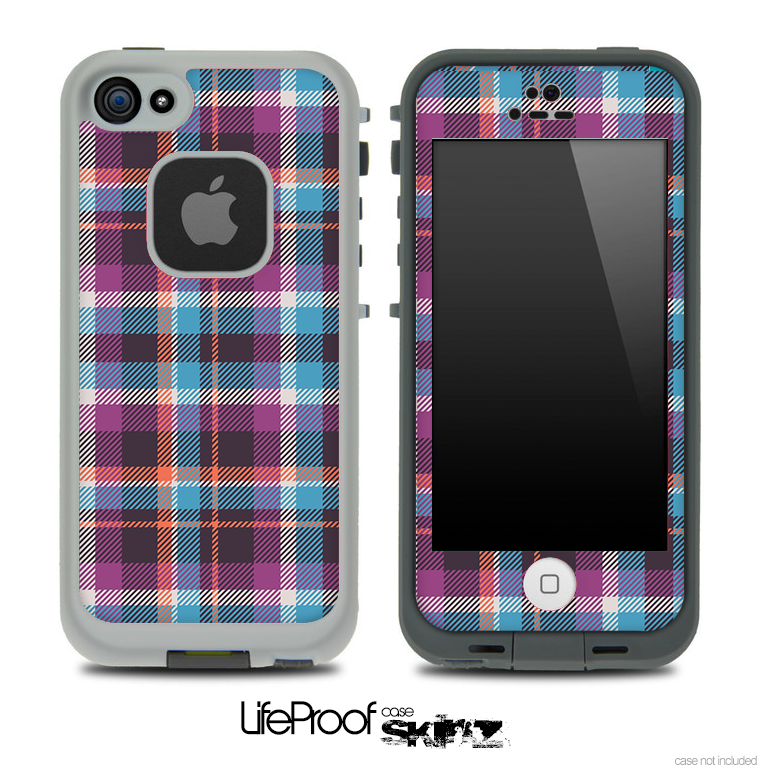 Vintage Blue and Pink Plaid Skin for the iPhone 5 or 4/4s LifeProof Case