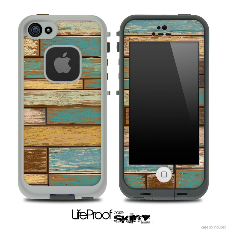 Colored Vintage Solid Wood Planks Skin for the iPhone 5 or 4/4s LifeProof Case