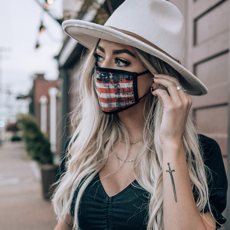 American Distressed Flag Panel - Made in USA Mouth Cover Unisex Anti-Dust Cotton Blend Reusable & Washable Face Mask with Adjustable Sizing for Adult or Child