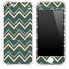 Vintage Brown and Green V4 Chevron Pattern Skin for the iPhone 3, 4/4s or 5