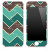 Vintage Brown and Green V3 Chevron Pattern Skin for the iPhone 3, 4/4s or 5