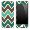 Vintage Brown and Green Chevron Pattern Skin for the iPhone 3, 4/4s or 5