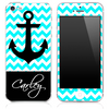 Custom Name Script on Light Trendy Blue/White Chevron and Anchor Skin for the iPhone 3gs, 4/4s, 5, 5s or 5c