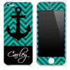 Custom Name Script on Blue/Black Chevron and Anchor Skin for the iPhone 3gs, 4/4s, 5, 5s or 5c
