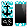 Custom Name Script on Blue/White Chevron and Anchor Skin for the iPhone 3gs, 4/4s, 5, 5s or 5c