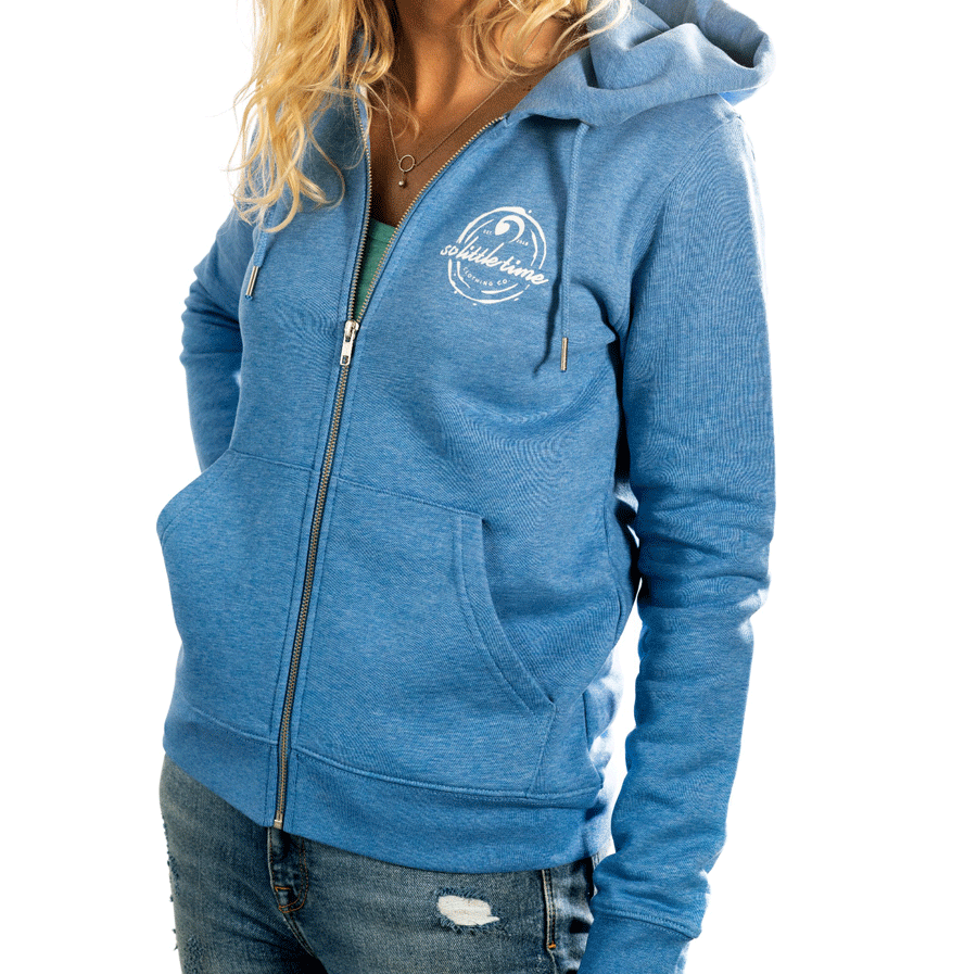 Ladies Zip Hoodie In Heather Blue