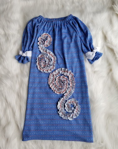 Josephine Dress in Retro Blue
