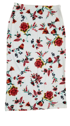 STRAIGHT LADIES SKIRT IN RED AND CREAM FLORAL
