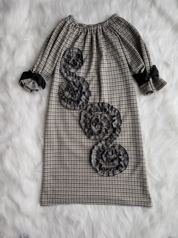 NEW! Josephine Dress in Gray Brown Houndstooth