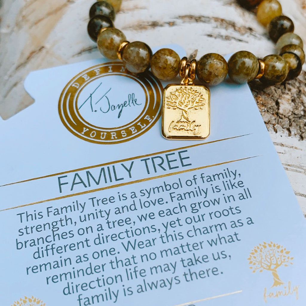 Gold Family Tree Charm Bracelet Collection