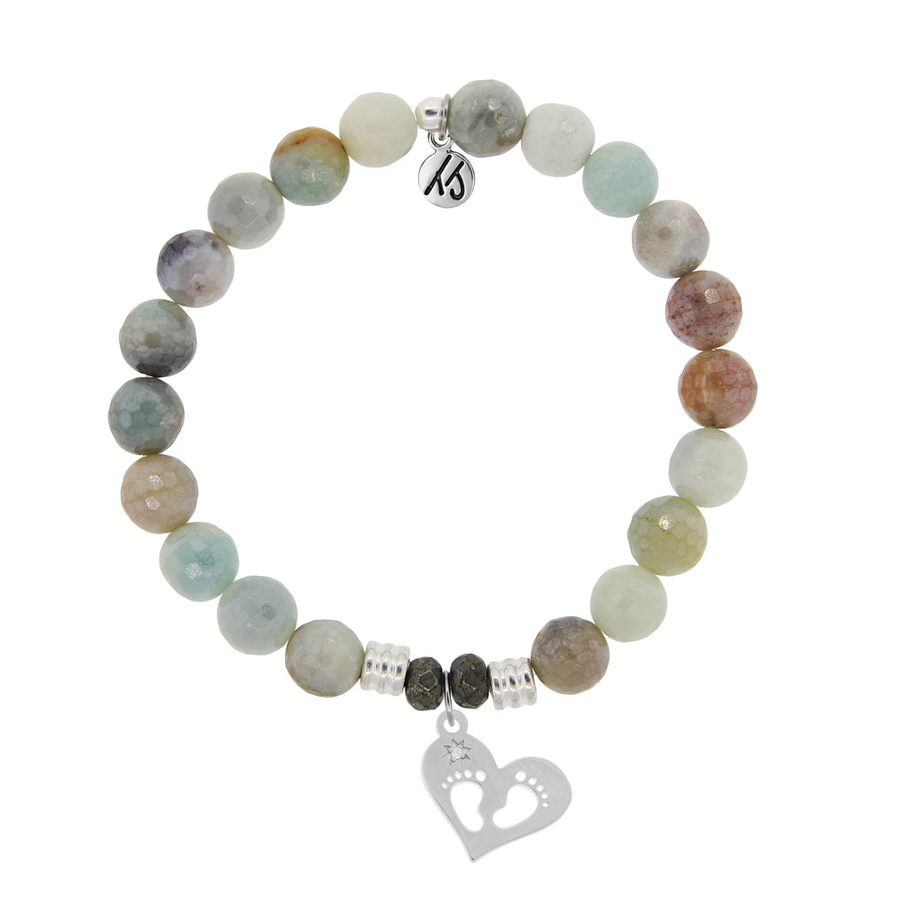 Amazonite Stone Bracelet with Baby Feet Sterling Silver Charm